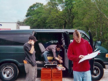Grillin' outside the van.